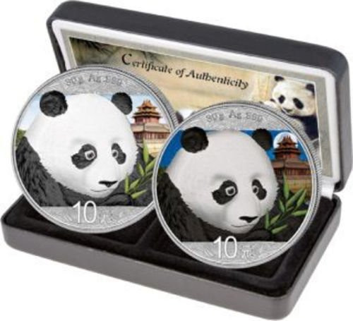2018 PANDA Day/Night set Colorized Silver Coin 10 Yuan China