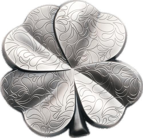 SILVER FORTUNE Four Leaf Clover Shape 1 Oz Silver Coin 5$ Palau 2018