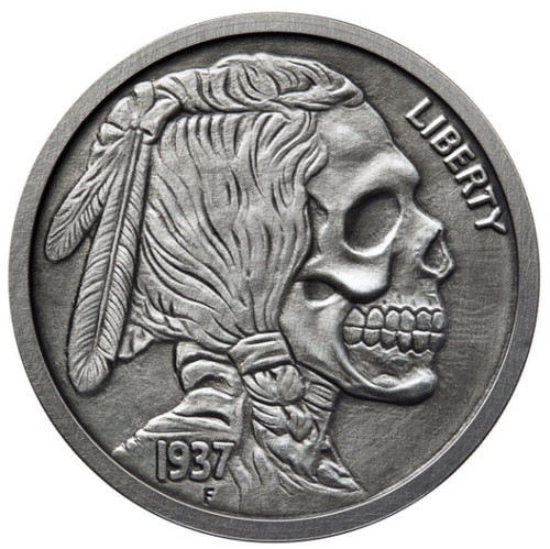 The INDIAN SKULL 1 oz Silver Antique finish round with Serial Number