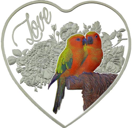 LOVE BIRDS Heart-Shaped Silver Coin 2018 Tokelau