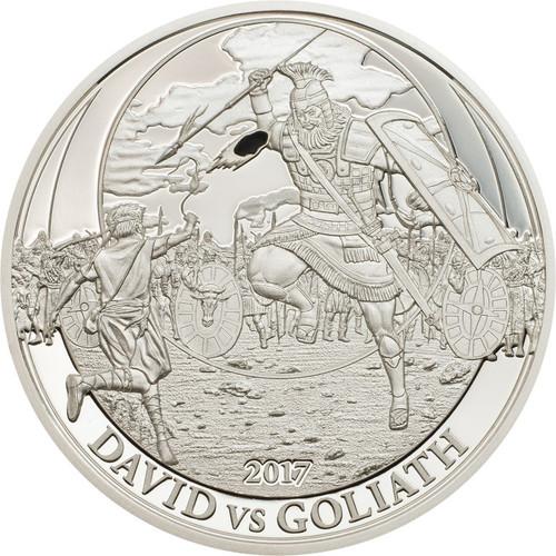 DAVID VS GOLIATH Biblical Stories Silver coin 2$ Palau 2017