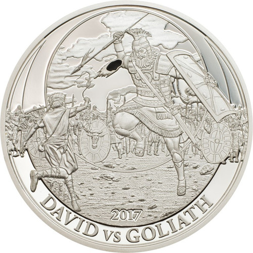 DAVID VS GOLIATH Biblical Stories Silver coin 2$ Palau 2017