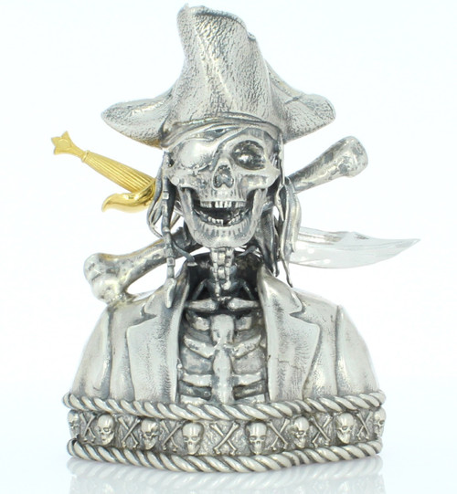 Silverbeard the PIRATE SKULL– 3D STATUE – 12 oz Silver 3D STATUE - SERIAL NUMBER