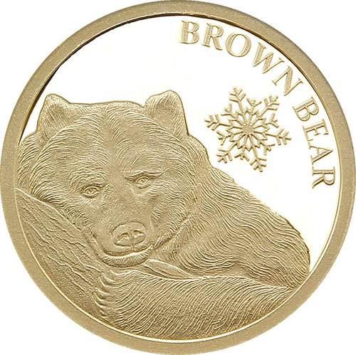 Brown Bear SNOWFLAKE BEARS 0.5 g Pure Gold Coin Tokelau 2018  brown