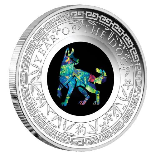 YEAR OF THE DOG Australian Opal 1 Oz Silver Coin 1$ Australia 2018