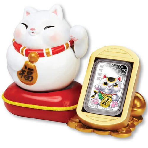 LUCKY CAT 'maneki-neko' 1 oz Silver Proof Coin Tuvalu 2018