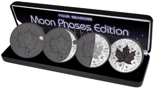 "MAPLE LEAF ""Moon Phases"" 4 Seasons SILVER COINS SET CANADA  4"