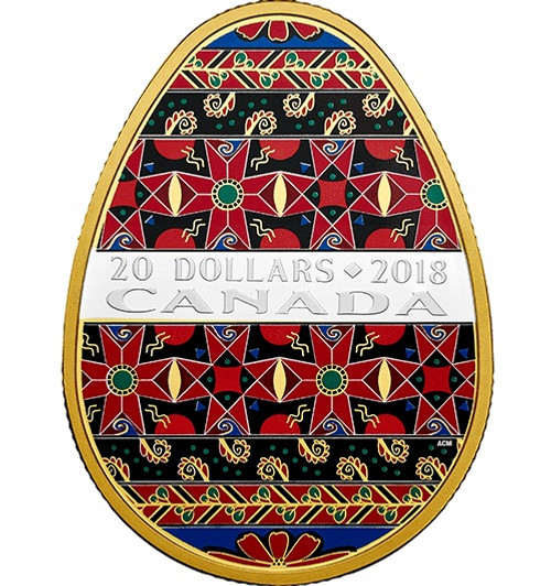 Golden Spring Pysanka - 1 oz. Pure Silver Gold-Plated Coin 2018