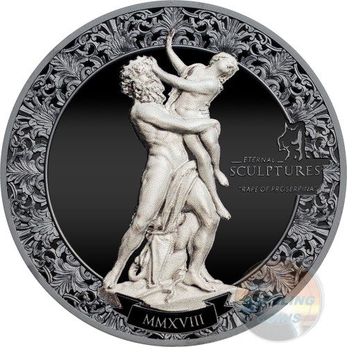 RAPE OF PROSERPINA Eternal Sculptures 2 Oz Silver Coin 10$ Palau 2018