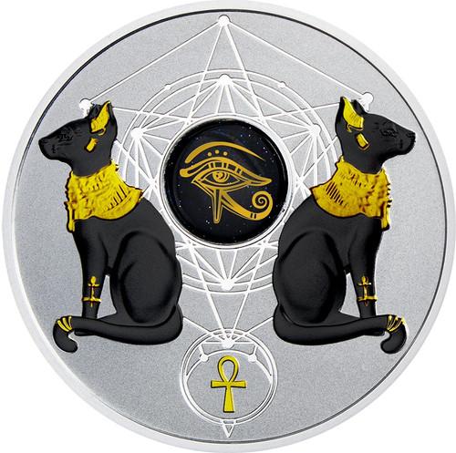 EYE OF HORUS Goldstone 2 Oz Silver Coin 2$ Niue 2018