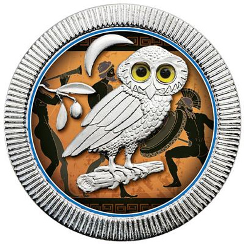 OWL of ATHENS - ANCIENT PAINTING I. Silver color coin 1 OZ Niue 2018