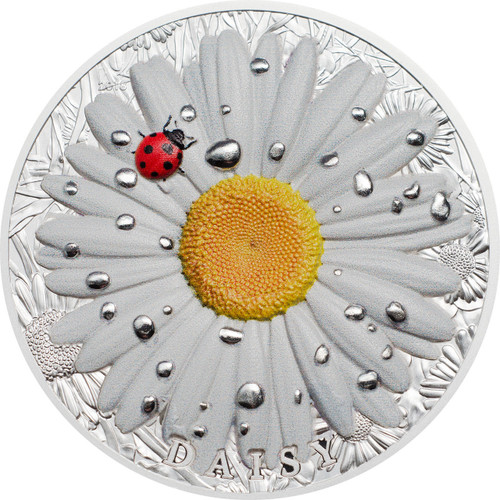 DAISY Ladybug High Relief Flowers Leaves 2 Oz Silver Coin 10$ Palau 2018