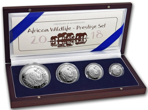 African Elephant Proof Prestige 4-Coin Silver Set 2018 Somalia