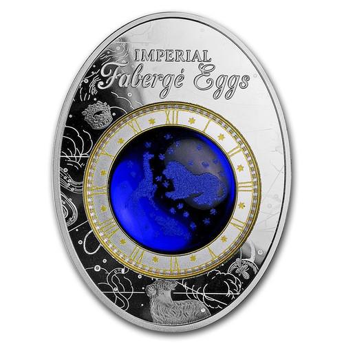 BLUE TSAREVICH CONSTELLATION EGG – FABERGÉ 1.8 OZ SILVER COIN 2018 NIUE