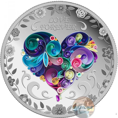LOVE FOREVER 1 Oz Silver Coin 1000 Francs Chad 2018
