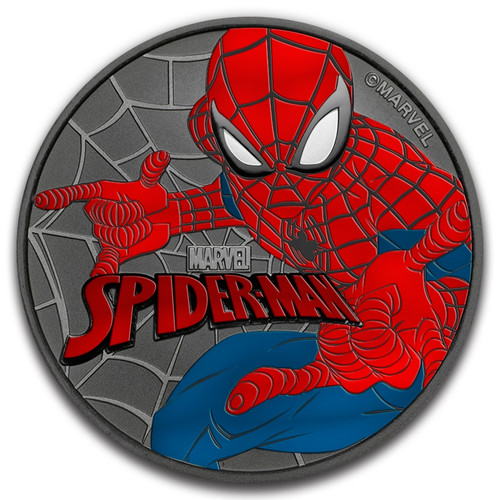SPIDERMAN MARVEL SERIES 2017 1 OZ TUVALU SILVER COLOR COIN