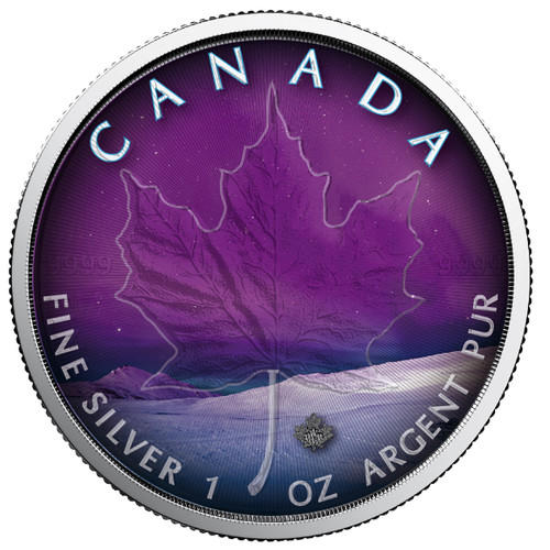 NORTHERN LIGHTS - YUKON - 1 oz Silver Coin - Canadian Maple Leaf 2018