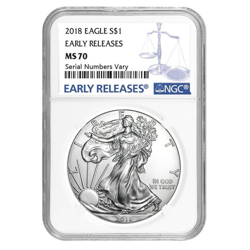 2018 1 oz Silver American Eagle $1 Coin NGC MS 70 Early Releases