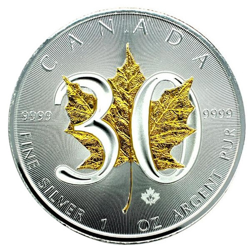 30th Ann. Canadian Silver Maple - 24K gold Gilded Leaf - 1 OZ SILVER COIN 2018