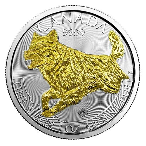 WOLF PREDATOR SERIES 1 OZ SILVER GILDED COIN $5 2017 CANADA