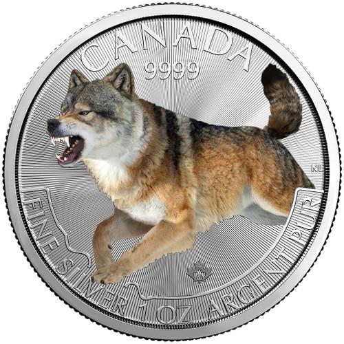 WOLF PREDATOR SERIES 1 OZ SILVER GILDED COIN $5 2018 CANADA