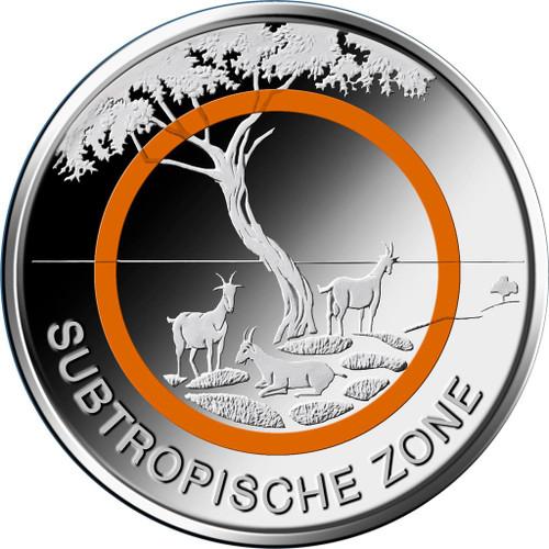 5 € Subtropical Zone ORANGE POLYMERIC RING Germany 2018