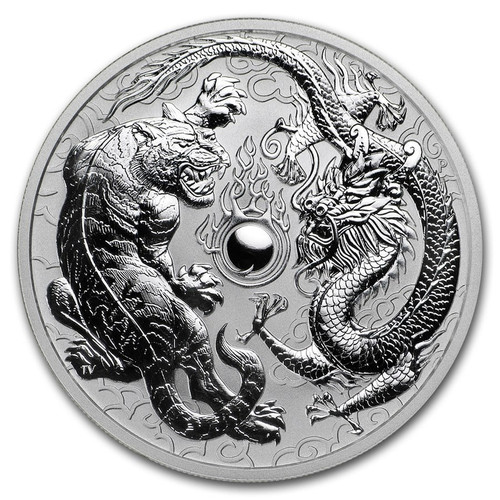 2018 1 oz Australian Dragon and Tiger  .9999 Silver Coin