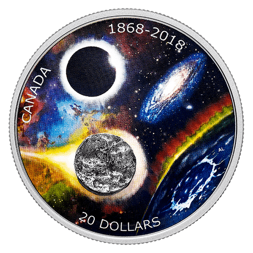 METEORITE - 150th. Ann. of THE ROYAL ASTRONOMICAL SOCIETY OF CANADA–2018 $20 1 oz Proof Silver Coin