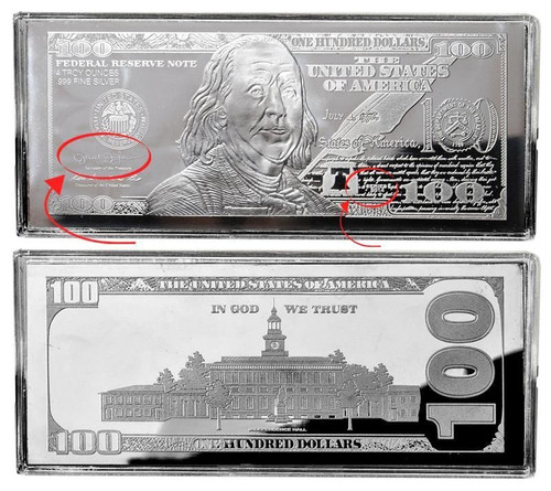 2014 - 4 oz $100 Silver Franklin Bars