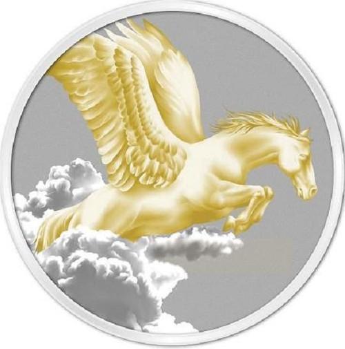 SPAWNS PEGASUS 1 oz Gilded Coin  $5 Tokelau 2014