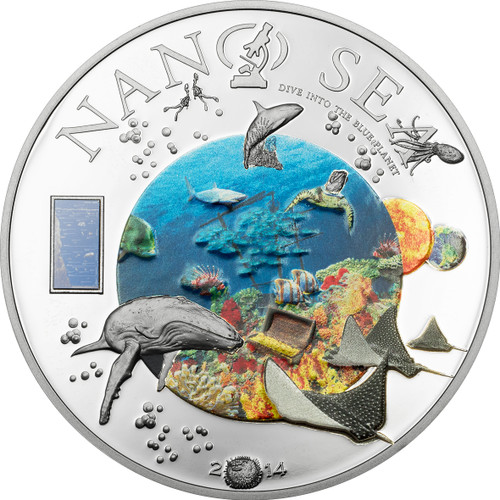 NANO SEA Cook Island 2014 Silver Coin- Nano Chip Inserted