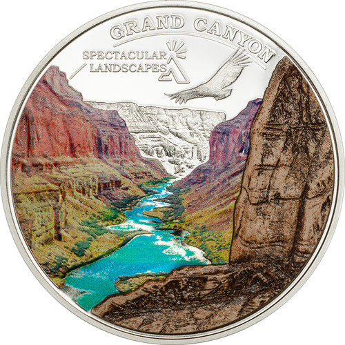 Cook Islands 2014 5$ Grand Canyon with Marble Inlay Silver Coin