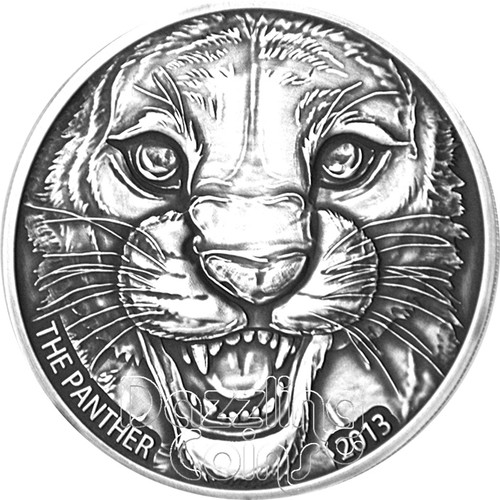 BLACK PANTHER Antique Finish Silver Coin 1000 Francs Ivory Coast 2013