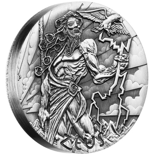 ZEUS Gods of Olympus High Relief Rimless 2 Oz Silver Coin 2$ Tuvalu 2014