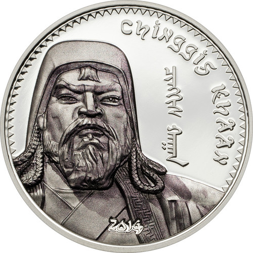 1000 Togrog Chinggis Khaan 1oz  Silver Color Coin