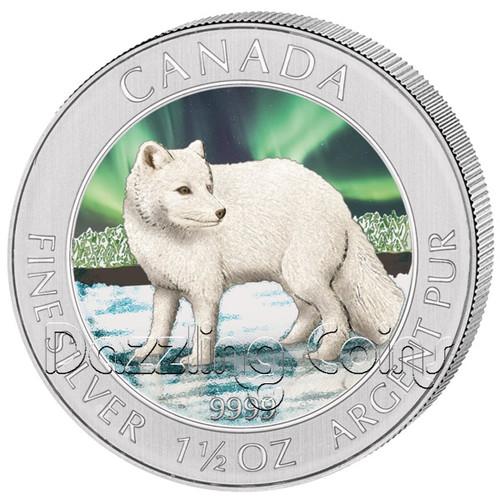 2014 1 1/2 oz Silver Color Arctic Fox $8 Coin