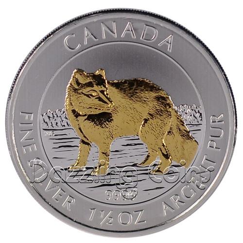 2014 1 1/2 oz Silver Gilded Arctic Fox $8 Coin