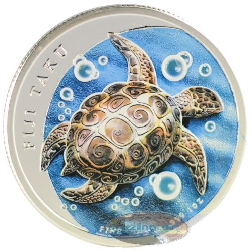 2012 1 oz Silver Color NZ Mint $2 Fiji Taku .999
