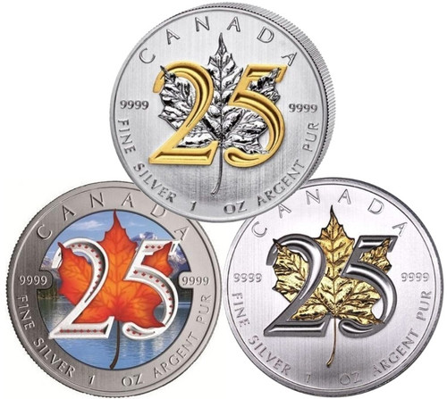 3x $5 1oz Silver Maple Leaf 25th Ann. .9999 Fine Gilded/ Color
