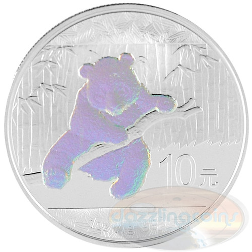 10 Y 1 oz. Silver Hologram Panda China 2014