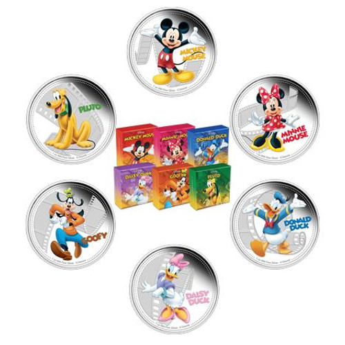 2014 6 x1oz Silver Coin - Disney - Mickey,Minnie,Donald,Daisy,Goofy,Pluto