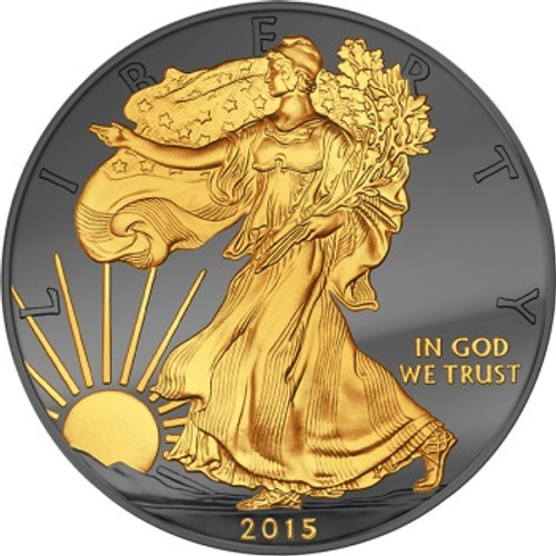 Golden Enigma - 2015 1 oz USA Silver Coin - Walking Liberty - Silver & Ruthenium & Gold Plated