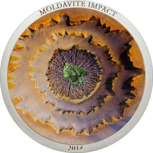 Cook Islands 2014 5$ Moldavite Impact Meteorite 1oz Silver Coin