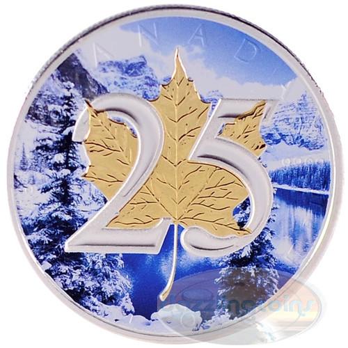 1 oz Silver .9999 Maple Leaf 25th Ann. Gilded Winter Design CA 2013