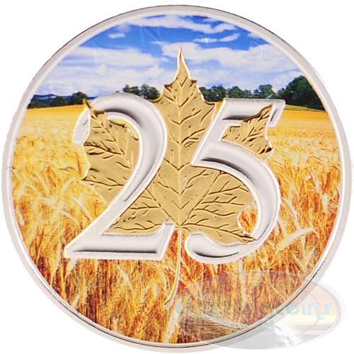 1 oz Silver .9999 Maple Leaf 25th Ann. Gilded Wheat Field CA 2013