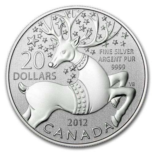 "$20 ""Magical Reindeer"" Canada 2012 Fine Silver Coin"
