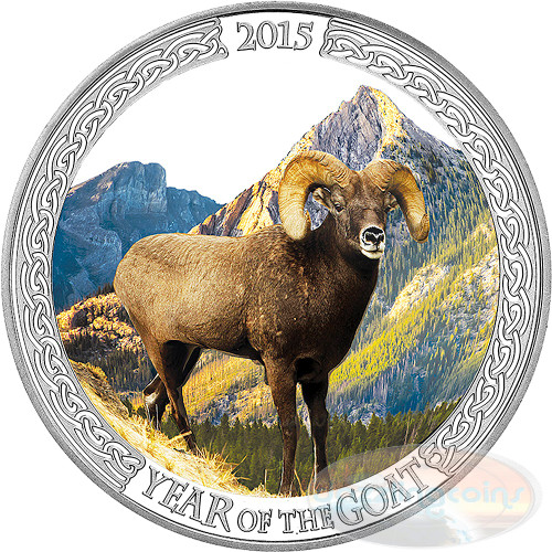 2015 Year Of The Goat - Big Horned Ram 1oz Silver Coloured Proof Tokelau Coin