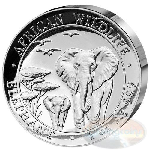 2015 Somalia~High Relief African Wildlife ELEPHANT 1oz Silver Coin