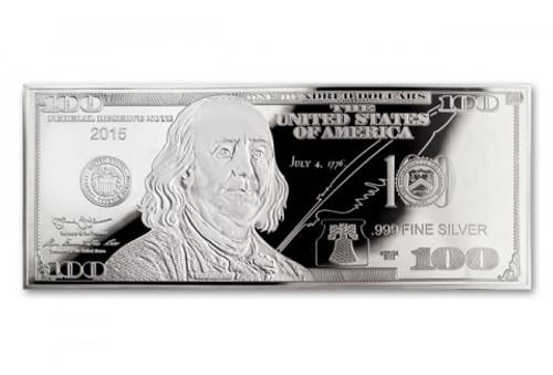 $100 Silver Franklin 1 oz Proof USA 2015