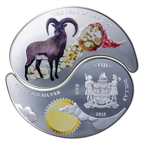 "2015 Fiji 2x$1 Silver Proof Coin ""Year of the Goat Yin & Yang"""